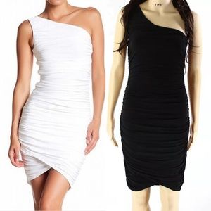 Soprano One Shoulder Ruched Bodycon Dress Black